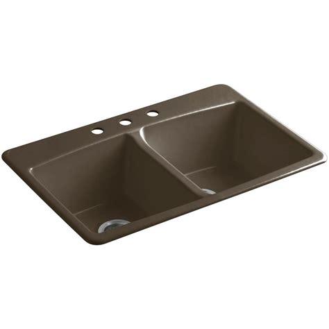Kohler Brookfield Kitchen Sink Kohler Brookfield Drop In Cast Iron 33 In 3 Basin Kitchen Sink In Suede K 5846 3 20