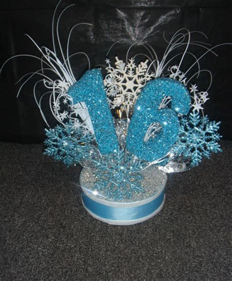 sweet 16 winter decorations the brat shackwinter centerpiece or cake topper