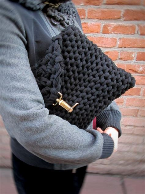 knitted clutch bag black knit clutch chunky knit black bag bulky knit purse