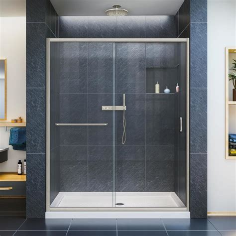 shower glass doors shop dreamline infinity z 56 in to 60 in w frameless brushed nickel sliding shower door at lowes