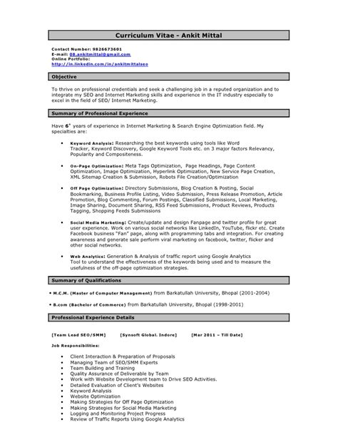 Seo Resume by Ankit Seo Resume