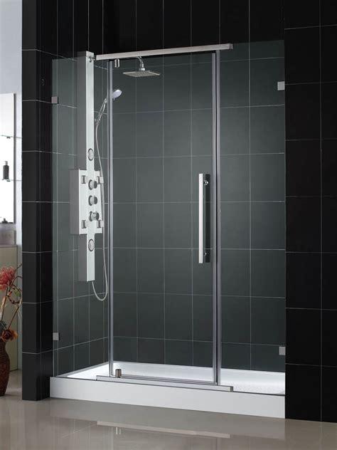 Coral Shower Doors Dreamline Vitreo X Frameless Pivot Shower Door And Slimline 36 Quot By 48 Quot Single Threshold Shower