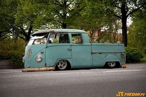 volkswagen pickup slammed vw bus van bulli double cab vw bus pinterest