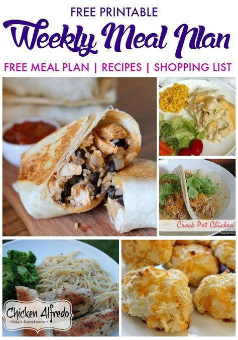 printable recipes for dinner weekly meal plan free printable with free family meal