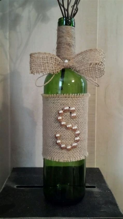 decorative bottles rustic burlap pearl initial monogram
