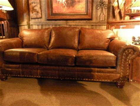 rustic leather sofa western brown leather couch