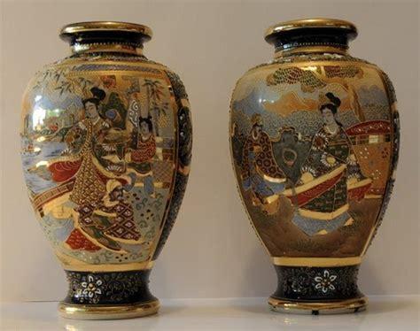 vasi satsuma antiquarian arte coppia vasi giapponesi satsuma primi 900