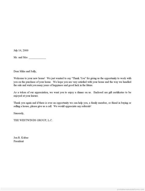 Finance Thank You Letter Sle Sle Printable Sales Thank You And Gift Certificate Letter Form Printable Real Estate Forms