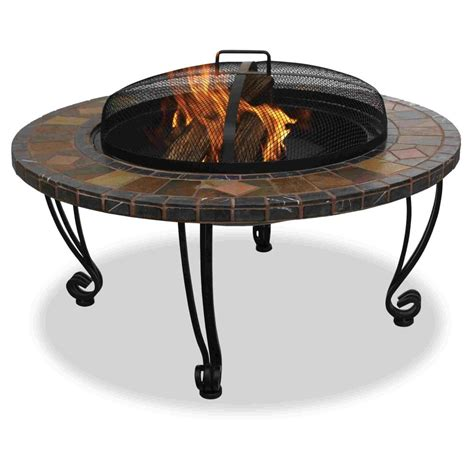 uniflame outdoor fireplace with slate mantel copper