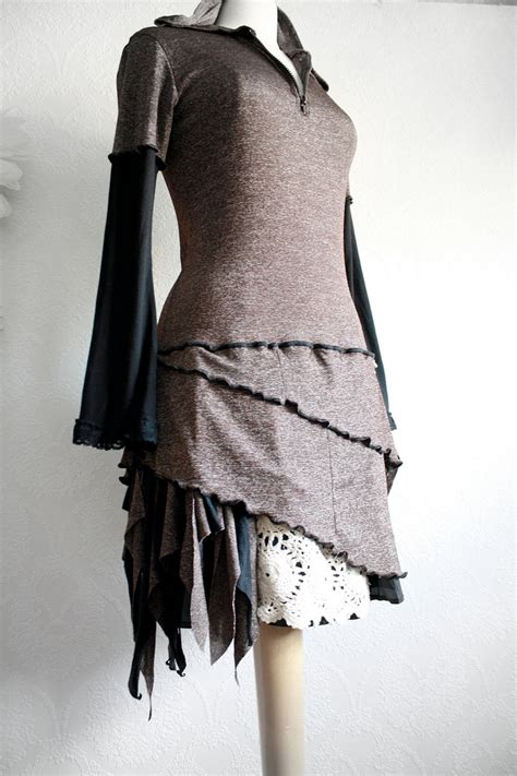 upcycled clothes ideas brown hooded dress upcycled clothing black bell sleeves