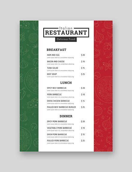 Free Italian Menu Template In Adobe Photoshop Microsoft Word Microsoft Publisher Adobe Adobe Menu Templates