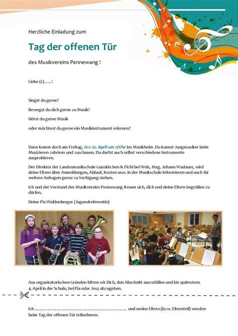 Musterbrief Einladung Tag Der Offenen T R Tag Der Offenen Musikheimt 252 R Musik Pennewang