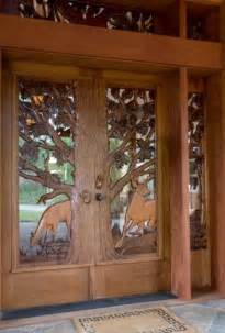 Log Cabin Front Doors Log Home Deer Carved Door Home Entryways Doors Log Homes Logs And Doors