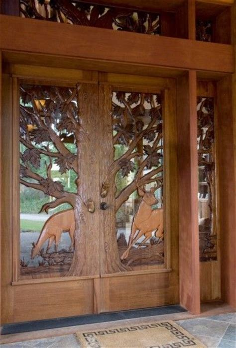 Log Home Front Doors Log Home Deer Carved Door Home Entryways Doors Log Homes Logs And Doors