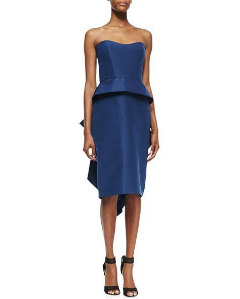 Blue Peplum Dress lhuillier strapless peplum cocktail dress in blue