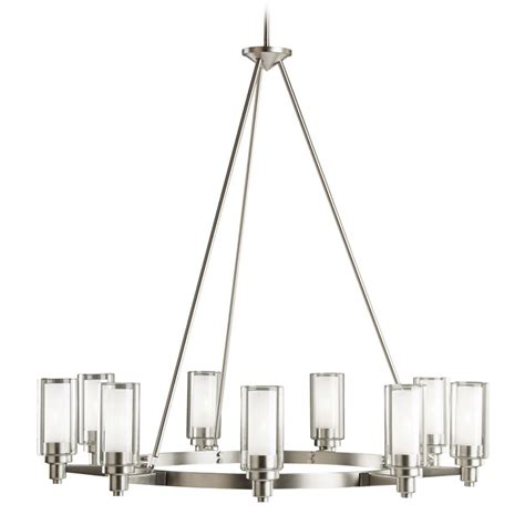 Contemporary Brushed Nickel Chandelier Kichler Modern Chandelier With Clear Glass In Brushed Nickel Finish 2346ni Destination Lighting