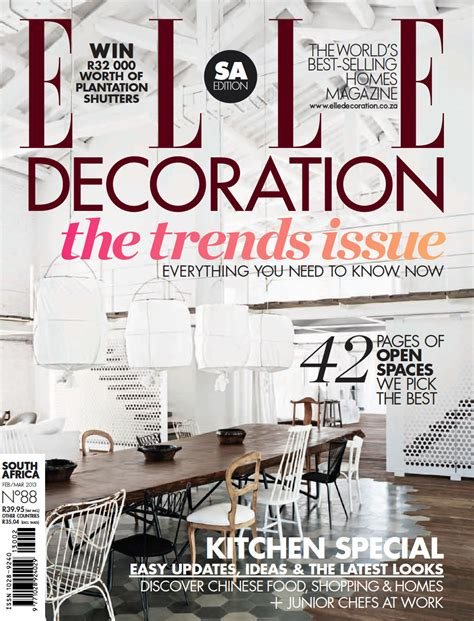 home decor magazines south africa elle decoration south africa february march 2013