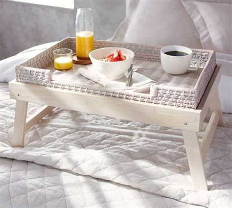 breakfast in bed table wood woven breakfast tray pottery barn