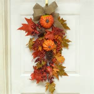 floral home decor grande pumpkin berry fall door swag