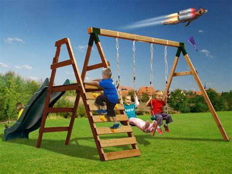 swing slide climbing frame dunster house foxcub with slide wooden climbing frame