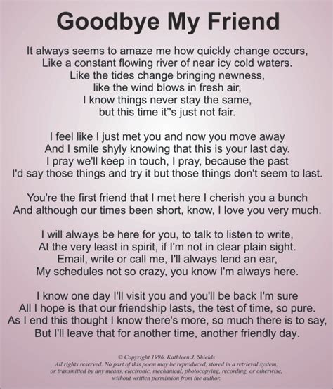 to my poem goodbye best friend poems