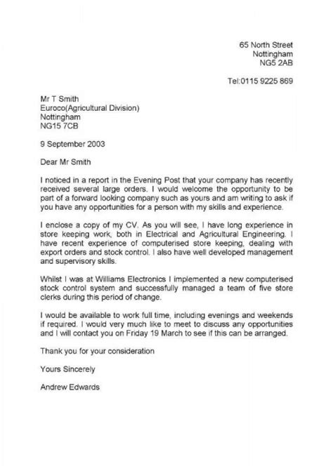 Covering Letter Exles Uk by Cover Letter Exle Cover Letter Exle Uk Speculative