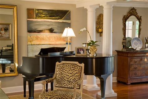 common ground the living room and leopard print pillows decorating with a baby grand piano living room traditional