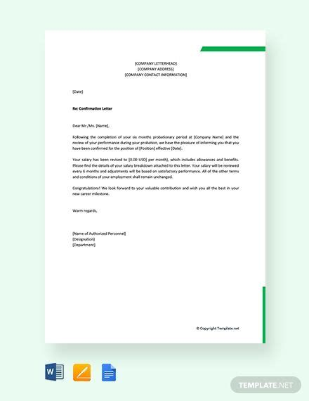 company confirmation letter lettering template