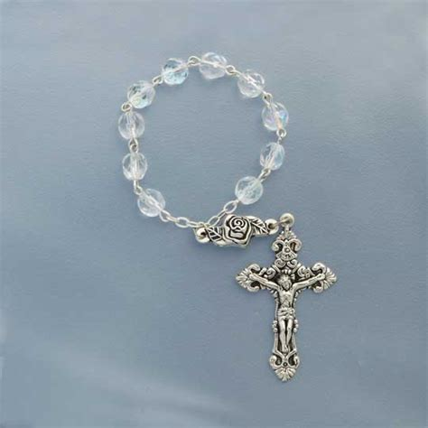 Music Decor clear one decade finger rosary