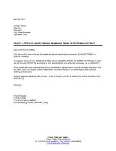 letter of understanding template letter of understanding regarding terms of proposed