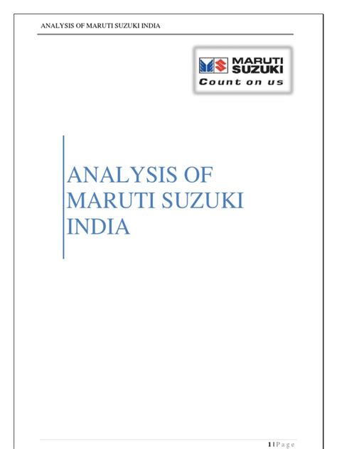 Mba In Maruti Suzuki by Analysis Of Maruti Suzuki