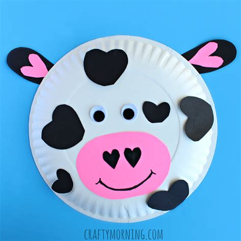 Crafts Using Paper Plates - paper plate cow craft for crafty morning