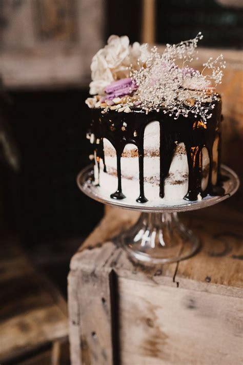 Chocolate drizzle rustic wedding cake   Deer Pearl Flowers