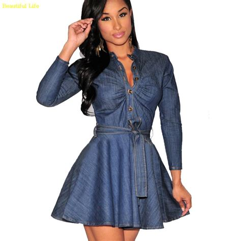 Blue Denim Fifth Sleeve S M L Dress 31589 autumn fall sleeve blue jean dresses casual denim dress mini