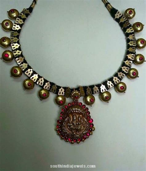 Home Design Kerala 2015 Gold Black Thread Temple Necklace South India Jewels