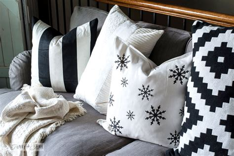 funky throws for sofas stencilled snowflake pillow on the new sofafunky junk