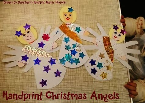 handprint christmas angel craft cut out from white card