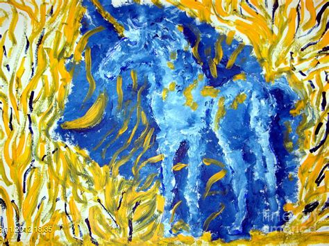 art dinca blue unicorn painting by farfallina art gabriela dinca