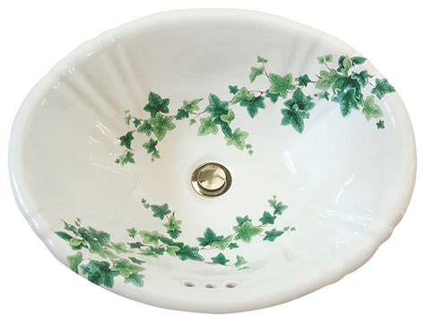 painted bathroom sinks english ivy hand painted sink traditional bathroom
