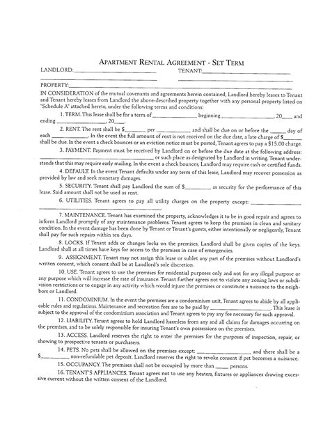 apartment lease agreement template best photos of standard apartment lease agreement
