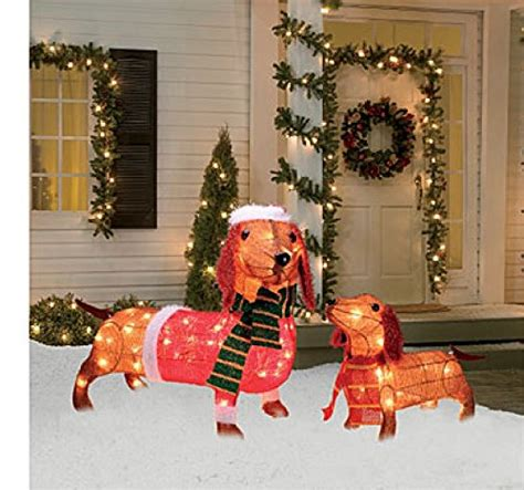 dachshund christmas lights light up dachshund family 2 set 17 inches and 26 inches tinsel pre lit