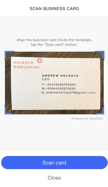 Microsoft Outlook Business Card Scanner