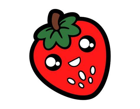 imagenes kawaii frutas dibujo de fresa feliz pintado por en dibujos net el d 237 a 05