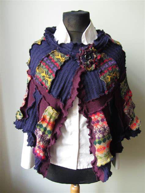 Patchwork Sweaters - patchwork shawl upcycled sweater coat patchwork sweater