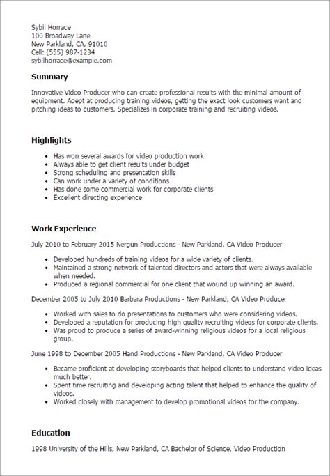 Resume Templates For Production Professional Producer Templates To Showcase Your Talent Myperfectresume