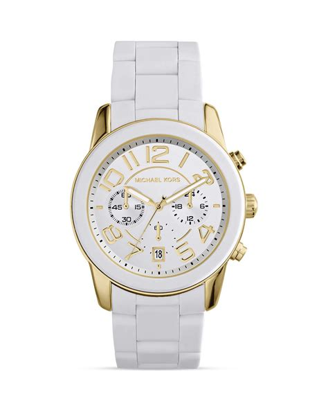 michael kors white silicone and gold tone mercer