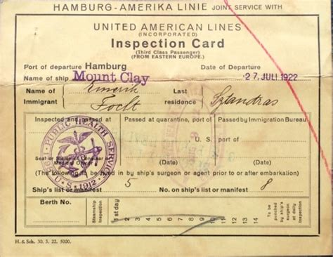 Identification Card Ellis Island Template by The Ellis Island Name Change Myth
