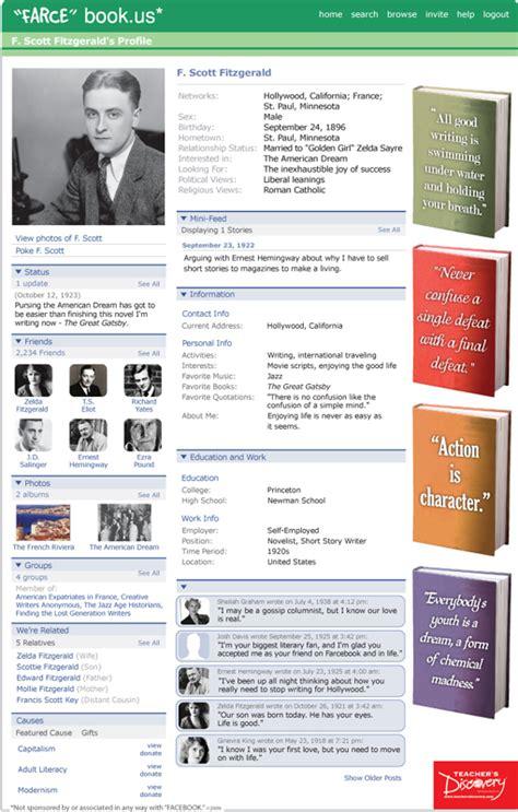 farcebook template f fitzgerald farce book poster classroom decor