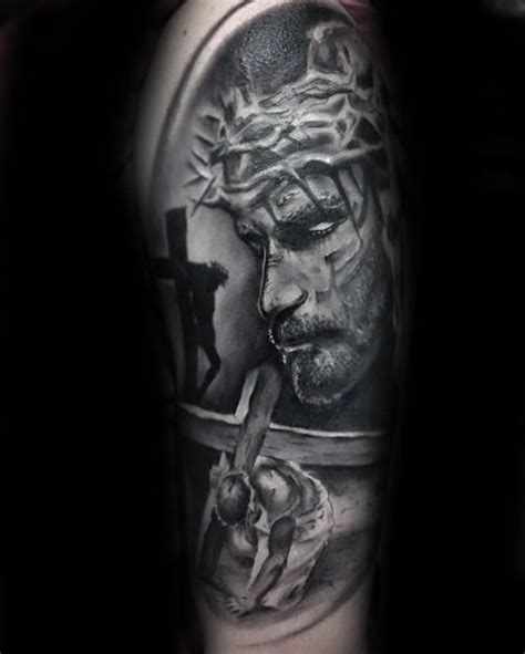 tattoo of jesus carrying the cross 60 catholic tattoos for men religious design ideas