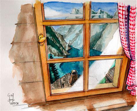 Paysage Vue D Une Fenetre by Artiste Peintre Denis Goy Tableau De Montagne